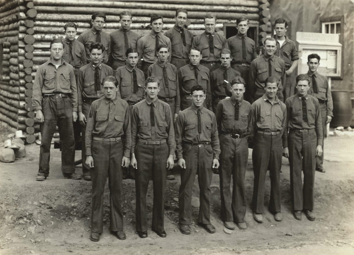 PHOTO PROVIDED Barracks photo of the boys of Camp Morton, including a young Charles Libby who is front row fifth from left and the one not wearing a tie, at Camp Morton in Benton in the late 1930's.