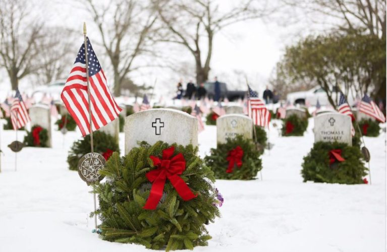 PHOTOS PROVIDED wreaths decorate the graves of veterans on National Wreaths Across America Day.