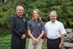 PHOTO PROVIDED Gary Kincel, left, Coventry Foundation president, and Gary Hagopian, a member of the foundation's board of directors, join Penn College student Luke C. Miller, of Grasonville, Md., the first recipient of the organization's automotive restoration technology scholarship.