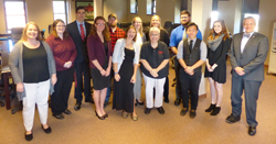 PHOTO PROVIDED Karen Whitney, interim chancellor, front center, and Scott Barton, interim president, front right, are shown with Mansfield university student representatives.
