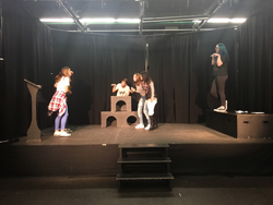 PHOTO PROVIDED Drama students practice in black box. Shown, from left, are Annika Waffenschmidt, Levi Roush, Melony Crissman, Mariah Wright and Katie Guyer.