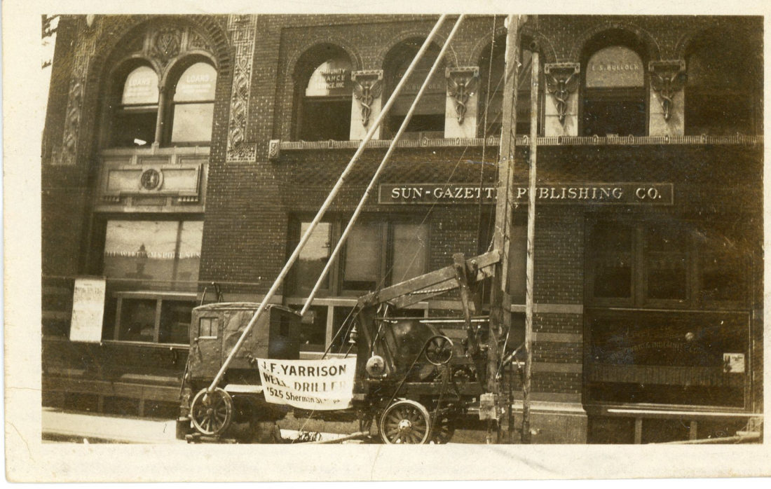 PHOTO PROVIDED J.F. Yarrison Oil Drilling operated a business from Sherman Street in the city. Shown here is the rig parked along West Fourth Street outside the Sun-Gazette.
