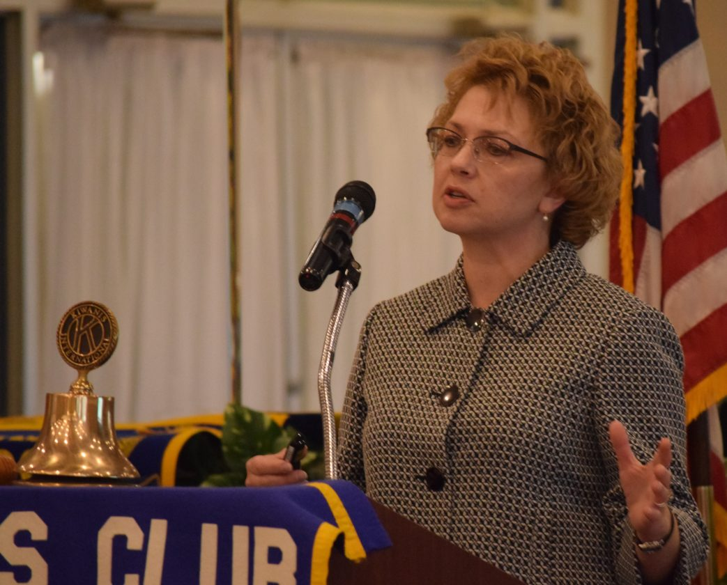 IOANNIS PASHAKIS/Sun-Gazette The Williamsport Kiwanis Club hears from Sandra Tosca, a district executive for the state Department of Transportation, Thursday about the history of the department.