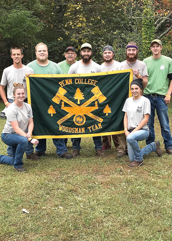 PHOTO PROVIDED Representing Penn College at a recent woodsmen's meet in North Carolina were, from left, students Kristin E. Cavanaugh, Bellefonte; Aaron V. Jedrziewski, Williamsport; and Jackson H. Gehris, Cogan Station; G. Andrew Bartholomay, assistant professor of forest technology; and students Levi J. Weidner, Mechanicsburg; William A. Morrow, Newville; Tyler W. Lauver, Mifflinburg; Abigail L. Hufnagle, Lewisburg; and Derick S. Gower, Sunbury.