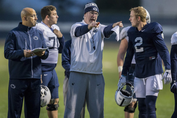 ASSOCIATED PRESS Joe Moorhead and James Franklin's coaching has been questioned the last two weeks in close losses at Ohio State and Michigan State.