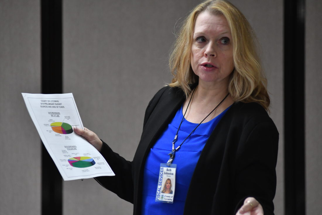 MARK NANCE/Sun-Gazette Beth Johnston, director of fiscal services explains the budget during a Lycoming County Commissioners' budget feedback meeting at the Jersey Shore Library Thursday.