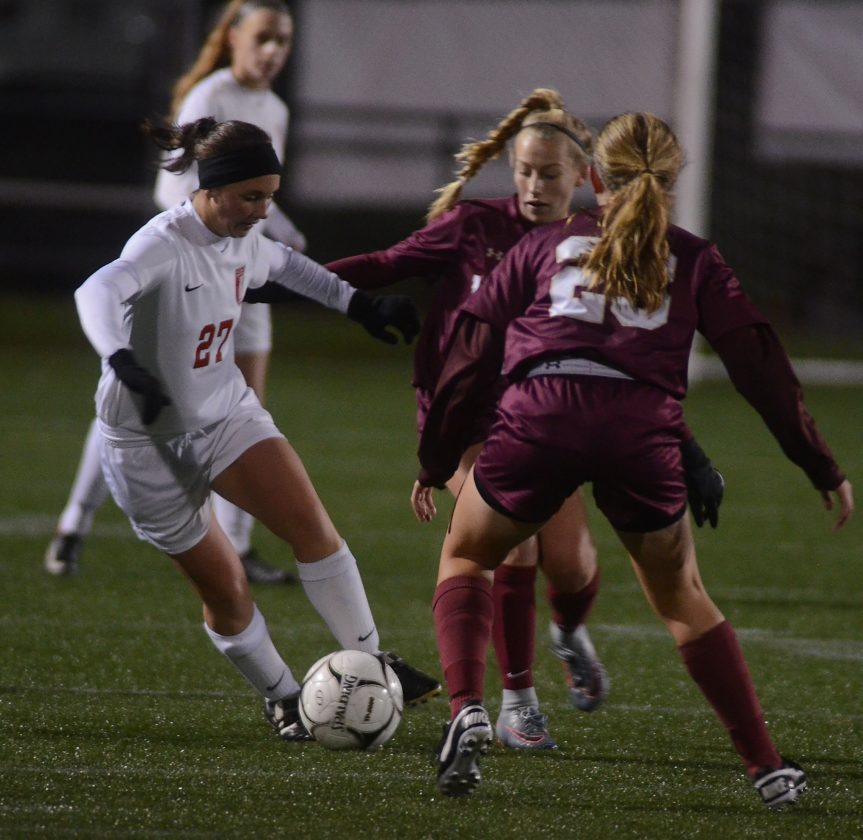 RALPH WILSON/For The Sun-Gazette Williamsport, with Haley Whitford, competed in the PIAAsoccer playoffs this season as District 2-4 Class AAAA champion.