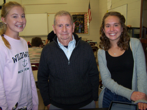 BARBARA CIOFFI/Sun-Gazette Correspondent Ed Cioffi, center, a now retired Loyalsock Township School District social studies teacher, is shown with two students.