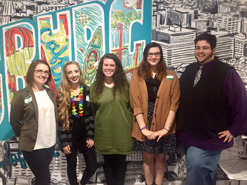 PHOTO PROVIDED Three Mansfield University students and the Career Center director recently attended the Webpage FX-U, a university recruiting event hosted by WebpageFX. Shown, from left, are Nichole Lefelhoc, Emily Good, Kortney Regis, Rachel Clark and Joshua Hastings.