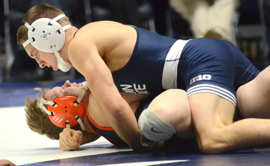 Penn State's Zain Retherford, top, works for backpoints against Bucknell's Seth Hogue at 149 pounds Sunday. Retherford earned the fall in 4:14.