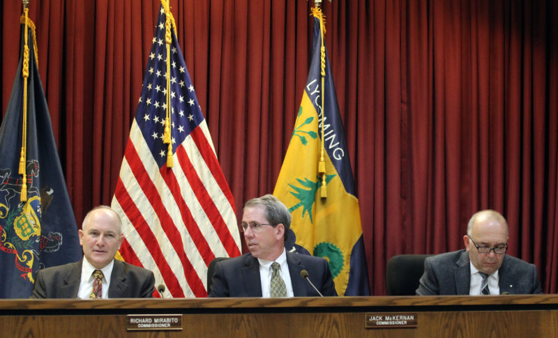 The Lycoming County Commissioners Richard Mirabito, left,  Jack McKernan, center, and Tony Mussare, right, hold the commissioners' meeting Thursday morning in the city.  KAREN VIBERT-KENNEDY/Sun-Gazette