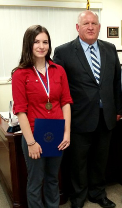 "PHOTO PROVIDED Shown are Sarah Yarger, left, Congressional Award Bronze Medal recipient, with U.S. Rep. Glenn ""GT"" Thompson."