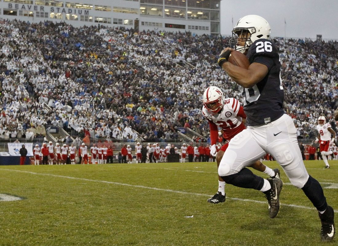 ASSOCIATED PRESS Saquon Barkley has said he will play in Penn State's bowl game. It's expected he'll turn pro after the season, but he said he has not made up his mind.