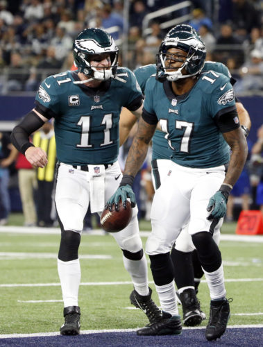 ASSOCIATED PRESS Carson Wentz, Alshon Jeffery, and the Eagles are 9-1 after beating Dallas Sunday.