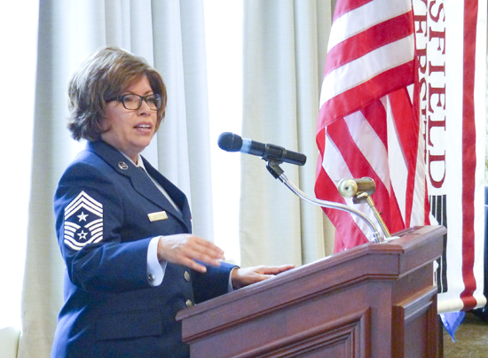 PHOTO PROVIDED Shown is Command Chief Master Sergeant Regina Stoltzfus of the Pennsylvania Air National Guard speaking at the event.