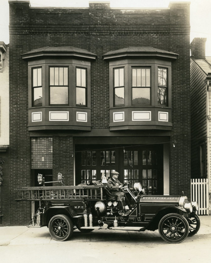 The Muncy Fire Department fire truck in the 1900s.