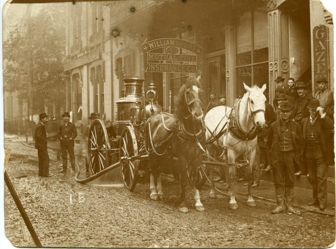 Horse-drawn fire equipment is used in the 1800s by the Williamsport Mutual Fire Insurance Co.
