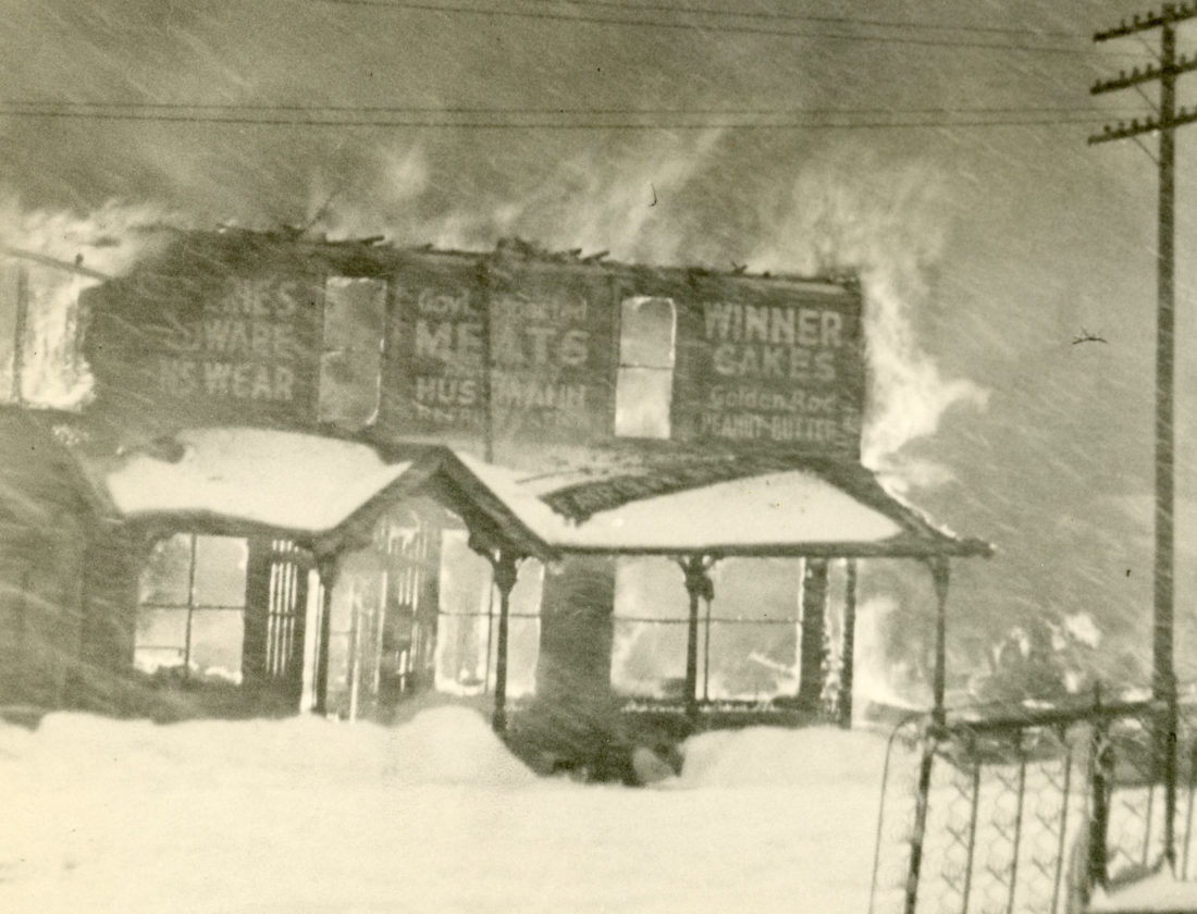 "PHOTO PROVIDED The Pass General Store burns to the ground as snow continues to fall, stopping fire companies from making it to the scene on time. The photo was taken by Aldrich Smith of Trout Run and published in ""History of Lewis Township, Lycoming Pennsylvania,"" by Beatrice and James Remick."
