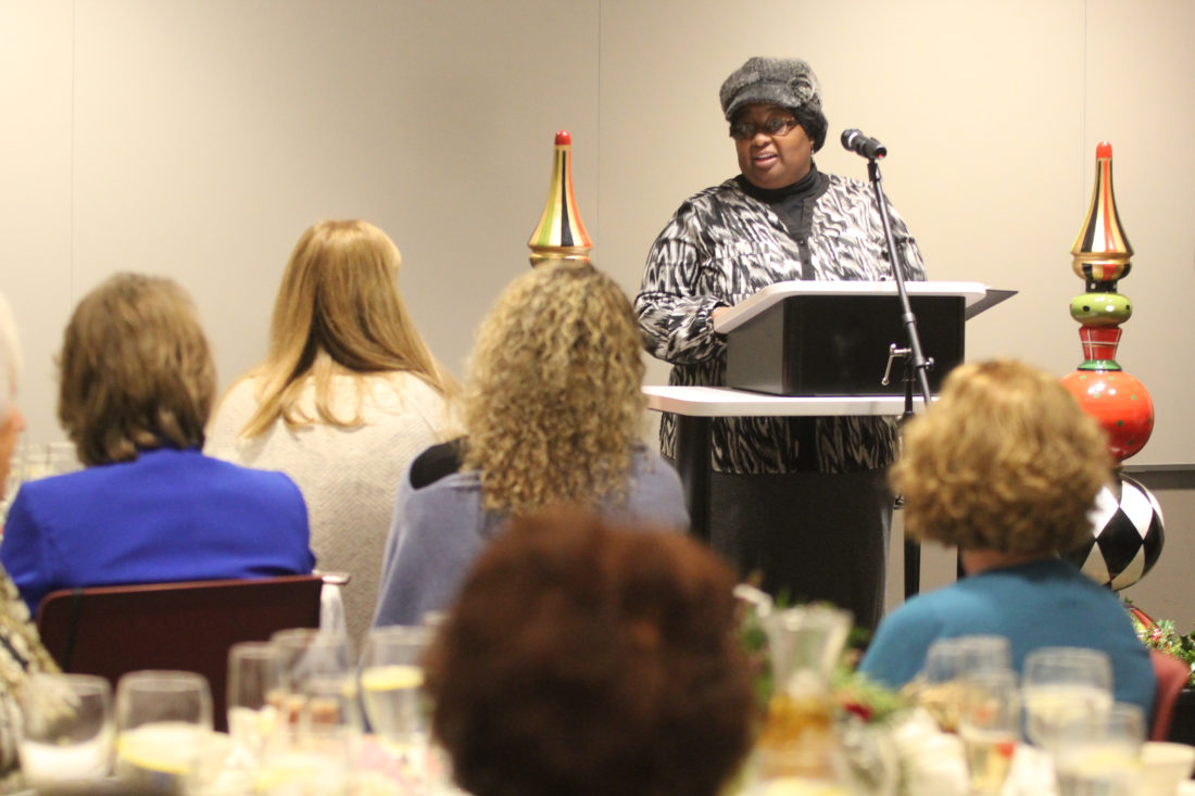 KAREN VIBERT-KENNEDY/Sun-Gazette The Rev. Velinda Smith, of Sojourner Truth Ministries talks about her organization's mission at the Pearls with a Passion annual luncheon at the First Community Foundation Partnership in the city on Tuesday.