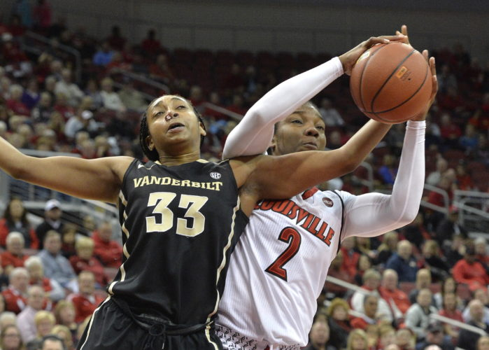 Louisville forward Myisha Hines-Allen (2) battles Vanderbilt guard Christa Reed (33) for a rebound during the second half of an NCAA college basketball game, Thursday, Dec. 7, 2017, in Louisville, Ky. (AP Photo/Timothy D. Easley)