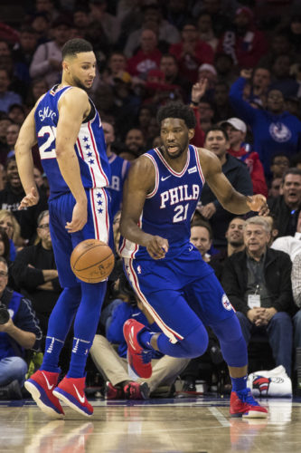 ASSOCIATED PRESS Joel Embiid, left, Ben Simmons, right, and the 76ers are 13-11 so far this season.