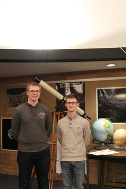 PHOTO PROVIDED Shown are LJ Boone and Cam Crossley in the WAHS planetarium.