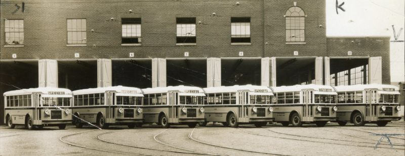 SUN-GAZETTE FILE PHOTO This photo, taken sometime in the early 1930s, shows the city's bus fleet, which took over as the city's primary transportation system when trolleys were rendered obsolete.