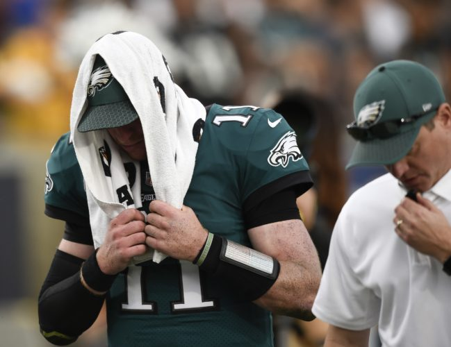 Carson Wentz is out for the season with a torn ACL, which can take up to a full year to recover.  ASSOCIATED PRESS