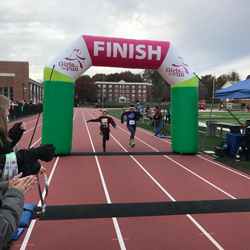 PHOTO PROVIDED Shown are two runners crossing the finish line at the Girls on the Run of Greater Susquehanna Valley's 5K held recently.