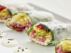 This Dec. 6, 2017 photo provided by The Culinary Institute of America shows vegetable spring rolls in Hyde Park, N.Y. This dish is from a recipe by the CIA. (Phil Mansfield/The Culinary Institute of America via AP)