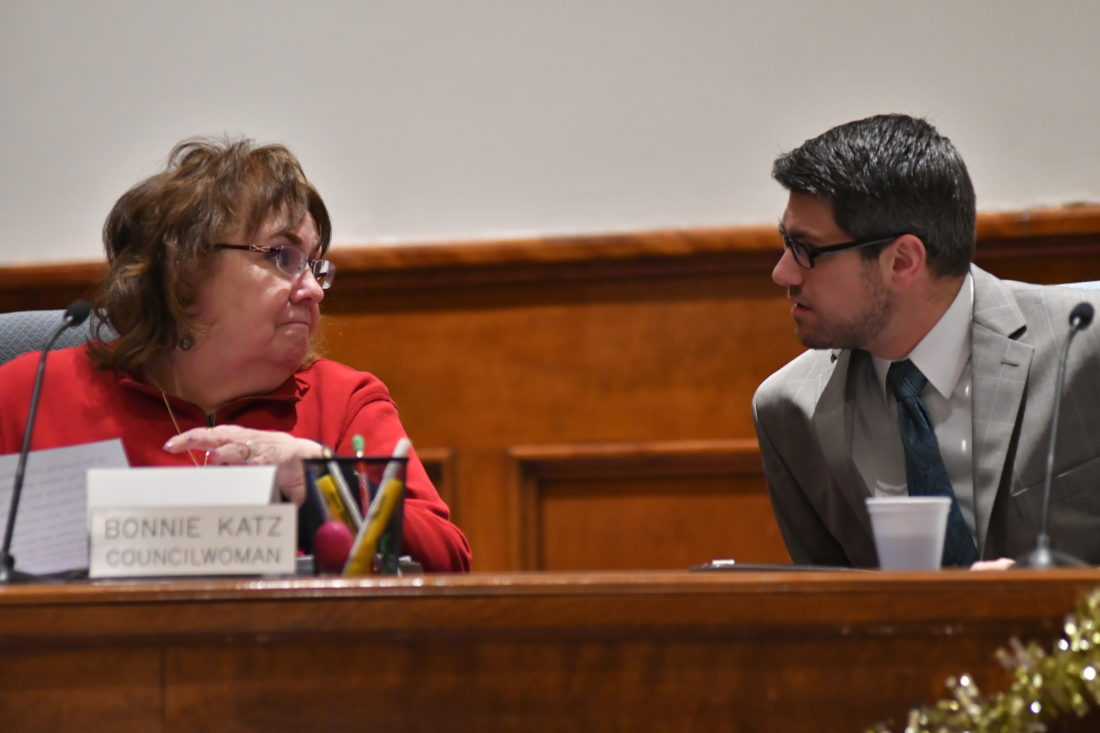 MARK NANCE/Sun-Gazette       Williamsport Councilwoman Bonnie Katz and Councilman Joel Henderson discuss issues before the start of Thursday night's council meeting.