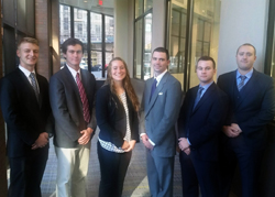 PHOTO PROVIDED A team of Penn College construction management students placed first in its category at the recent ASC Student Competition in New York state. Shown, from left, are Thomas D. Roberts, Pittsburgh; Andrew S. Welsh, Chadds Ford; Lauren S. Herr, Lititz; Carl A. Zimmerman, Hunlock Creek; Chekota J. Newhart, Troy; and Calen B. Heeter, Emlenton.