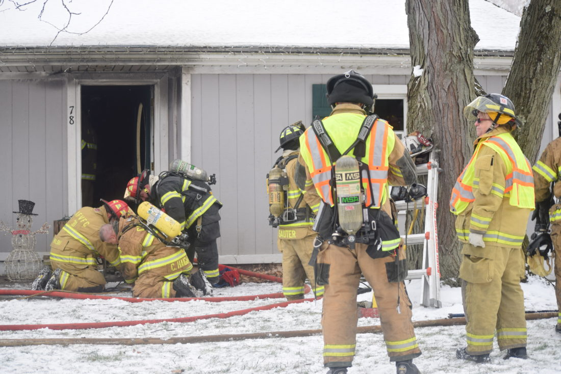 IOANNIS PASHAKIS/ Sun-Gazette  On Friday afternoon, five local fire companies responded to a house fire at 78 Nippenose Road, Nippenose Township.