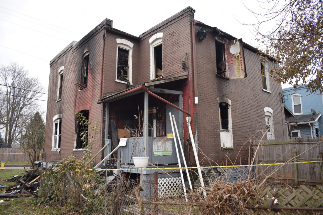 IOANNIS PASHAKIS/sun-gazette The cause of a fire that began at 615 Poplar Street in Newberry is still under investigation. 613 Poplar Street, the other side of the double home, had no occupants at the time of the fire.