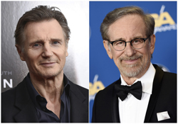 "This combination photo shows Liam Neeson at a screening of ""Concussion"" in New York on Dec. 16, 2015, left, and director Steven Spielberg at the 68th Directors Guild of America Awards in Los Angeles on Feb. 6, 2016. Neeson was in the 1994 Academy Award-winning film, ""Schindler's List,"" directed by Spielberg. (Photo by Evan Agostini, left, and Chris Pizzello/Invision/AP)"