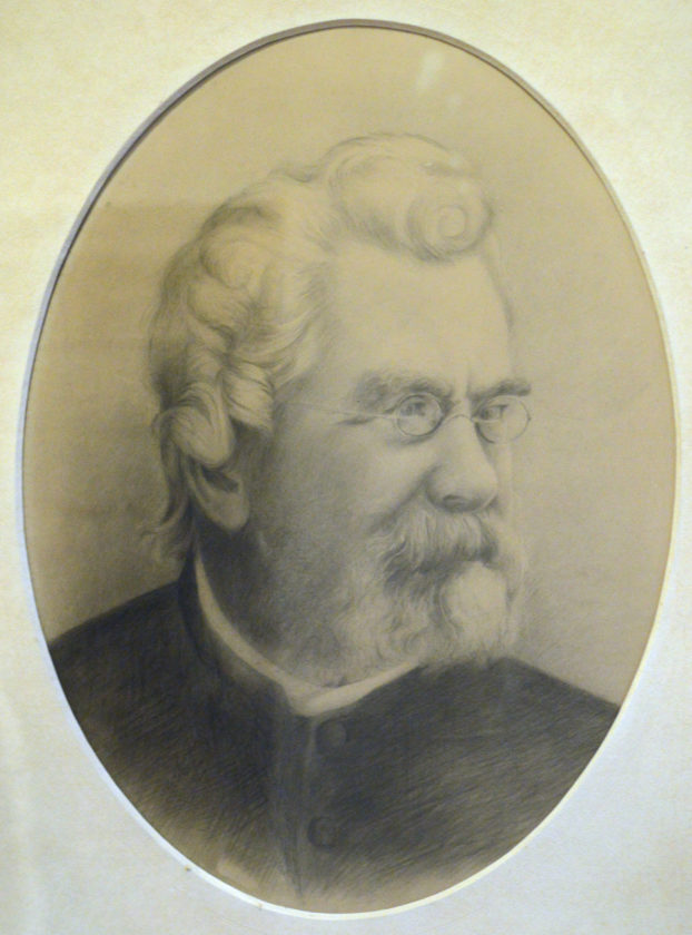 "KATELYN HIBBARD/Sun-Gazette This drawing of the Rev. Dr. John Henry Hopkins Jr., composer of the Christmas hymn ""We Three Kings of Orient Are,"" hangs in the Christ Episcopal Church on Mulberry Street, where Hopkins served as rector for 11 years in the 1800s."