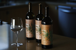 In this Dec. 22, 2017, photo, three bottles of Rebel Coast Winery's cannabis-infused wine sits in Los Angeles. As the world's largest legal recreational marijuana market takes off in California, the trendsetting state is set to ignite the cannabis-culinary scene. Rebel Coast WineryÕs THC-infused sauvignon blanc is made from Sonoma County grapes, but the alcohol is removed in compliance with regulations that prohibit mixing pot with alcohol. (AP Photo/Jae C. Hong)