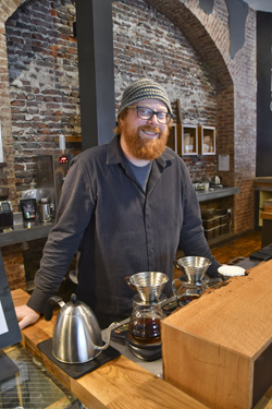 MARK NANCE/Sun-Gazette Karl Fisher, owner of Alabaster Coffee, has turned his passion for a good cup of coffee into his own business including reaching out to the community high schools and colleges.