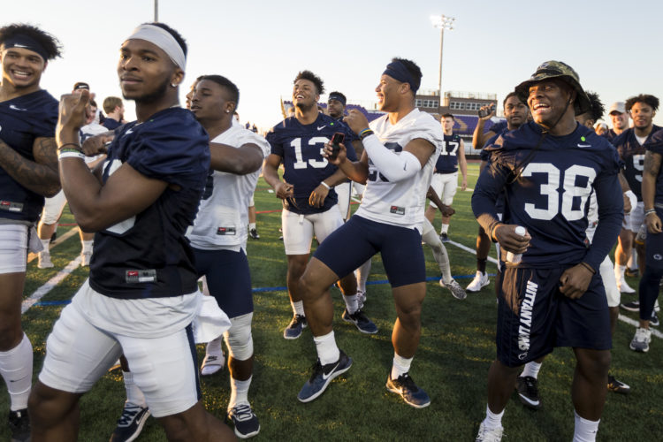 ASSOCIATED PRESS Penn State players Grant Haley, Saquon Barkley and Lamont Wade dance during charity kickball event with the Children's Cancer Network and HopeKids, this past week in Scottsdale, Ariz.