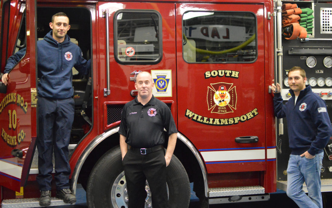 """KATELYN HIBBARD/Sun-Gazette From left, Evan Helsley, Joey Foster and Lt. Mike Merwin, of the South Williamsport Fire Department, said their goals for 2018 are to gain """"younger, active members"""" and expand the live-in program for college students."""