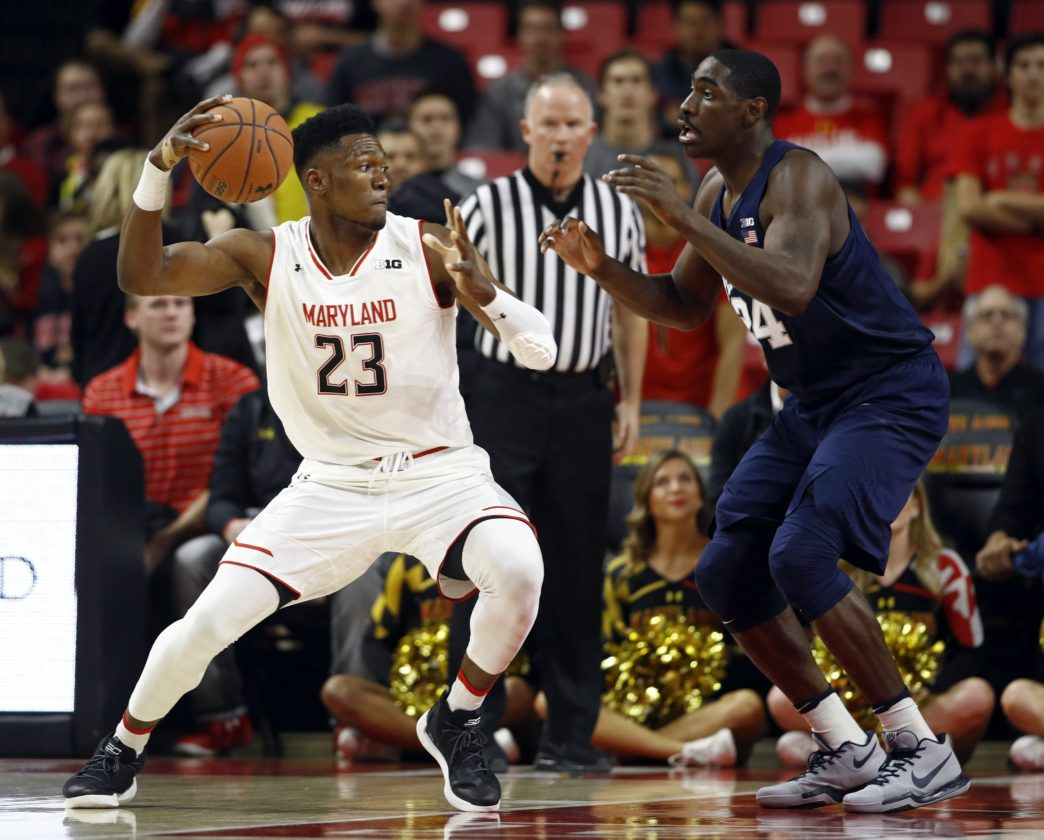 ASSOCIATED PRESS Maryland forward Bruno Fernando, left, of Angola, drives against Penn State forward Mike Watkins in the first half Tuesday in College Park, Md.