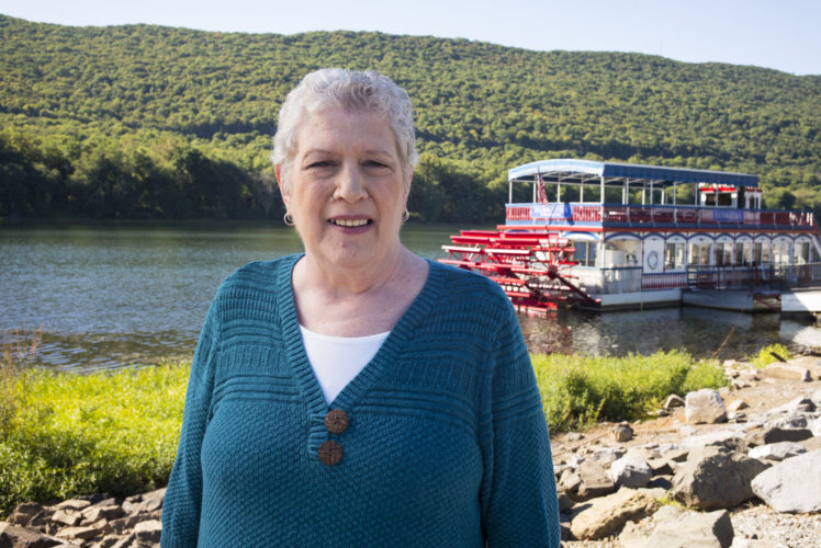 MyCode participant Kim Mummert, of Williamsport, poses in front of the Susquehanna River.