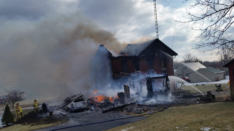 PHILIP A. HOLMES/Sun-Gazette An elderly couple was displaced Tuesday morning after a multiple-alarm blaze destroyed this Susquehanna Trail home in Northumberland County. The fire burned out of control for nearly 90 minutes. There were no reports of injuries.