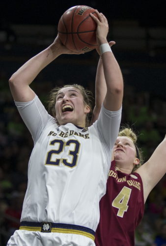Notre Dame's Jessica Shepard (23) goes up to shoot in front of Boston College's Taylor Ortlepp (4) during the second half of a game on Sunday in South Bend, Ind. (AP)