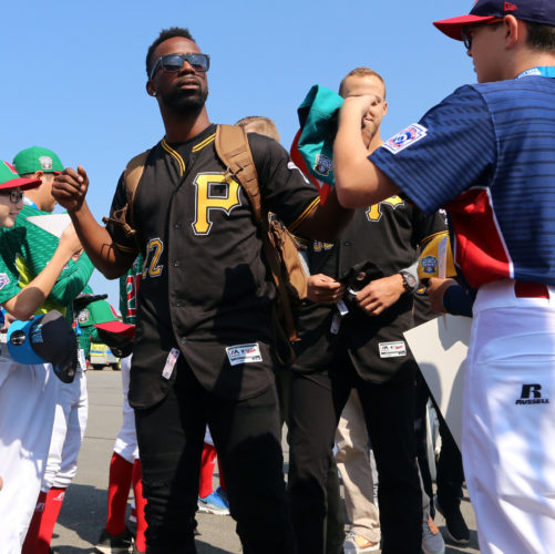SUN-GAZETTE FILE Andrew McCutchen appears at the 2017 MLB Little League Classic with the Pittsburgh Pirates. He was traded Monday for a pitcher, minor-league outfielder, and financial considerations.