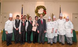 PHOTO PROVIDED Eight students in Penn College's hospitality majors were selected to help prepare and serve food for the Pennsylvania governor's residence annual winter gala in December. From left are Chef Michael J. Ditchfield, instructor of hospitality management/culinary arts; students Austin B. Ovens, of Elizabethtown, Mallory A. Hoffman, of Pottsville, Jacob W. Parobek, of Seltzer, and Kelsie F. Thomas, of Darby; Pennsylvania First Lady Frances Wolf; Gov. Tom Wolf; and students Magdalen C. Bennett, of Erie, Bridget M. Callahan, of Pottsville, Amaris T. Smith, of Williamsport, and Charlie E. Cooke, of Wayne.