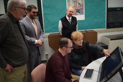 IOANNIS PASHAKIS/Sun-Gazette  East Lycoming School District board members see a Zspace three dimensional lesson for the first time, at a board meeting on Jan. 9.