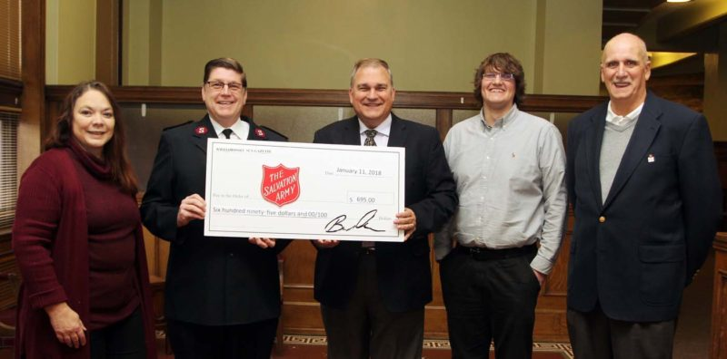 KAREN VIBERT-KENNEDY/Sun-Gazette Pictured, from left, are Tammy Burke, Salvation Army social services coordinator and project break through case manager; Major Donald Spencer, Salvation Army Corps officer; Bernard A. Oravec, Williamsport Sun-Gazette Publisher;  Jordan Musheno, Williamsport Sun-Gazette Lifestyle and Education editor; and Tony Perrotta, Salvation Army public relations and program & fund development.