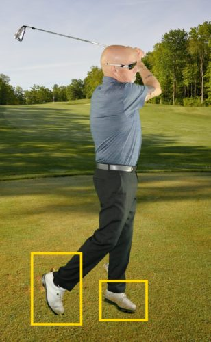 SUBMITTED PHOTO Finish the swing with your weight on the outside of the left foot and on the toe of the right foot.