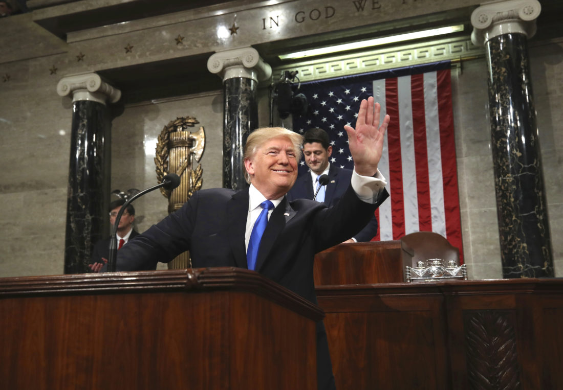 President Donald Trump arrives to deliver his first State of the Union Address to a joint session of Congress in the House chamber of the U.S. Capitol Tuesday, Jan. 30, 2018 in Washington. (Win McNamee/Pool via AP)
